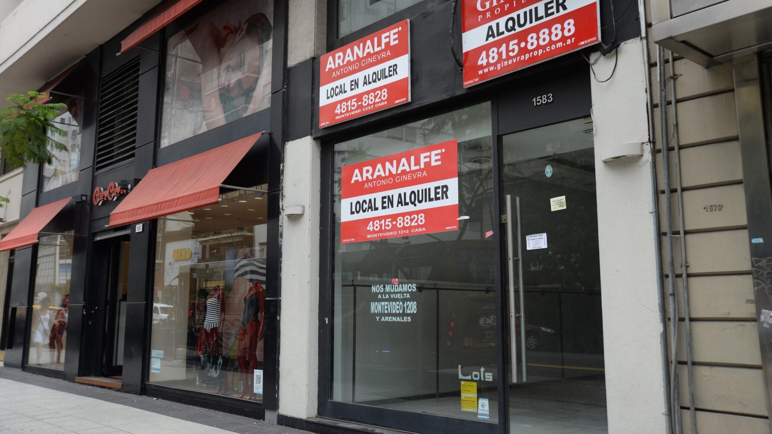 Aumentó la cantidad de locales vacíos en la Ciudad de Buenos Aires